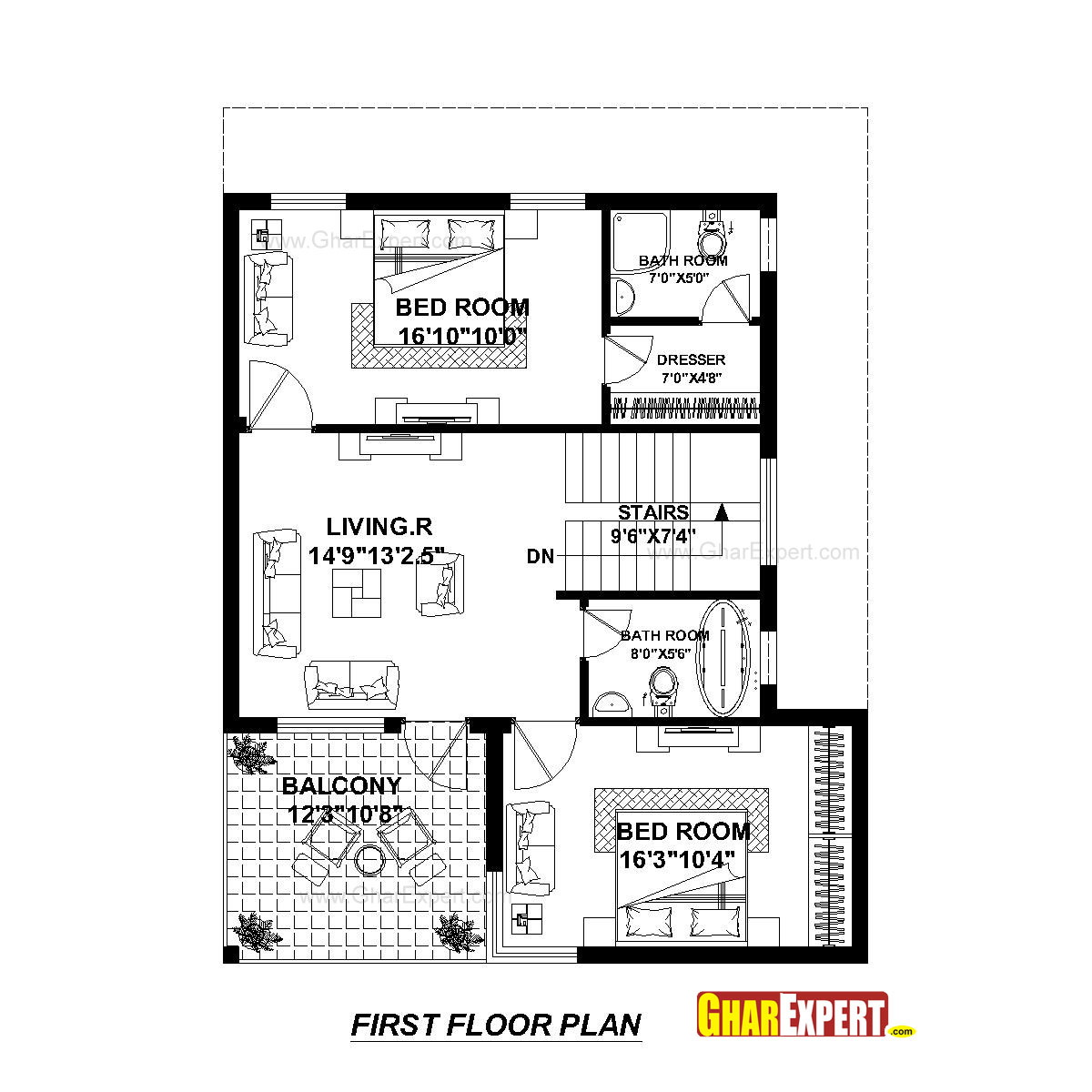 House plan for 30 feet by 45 plot 30 by 45 house plans