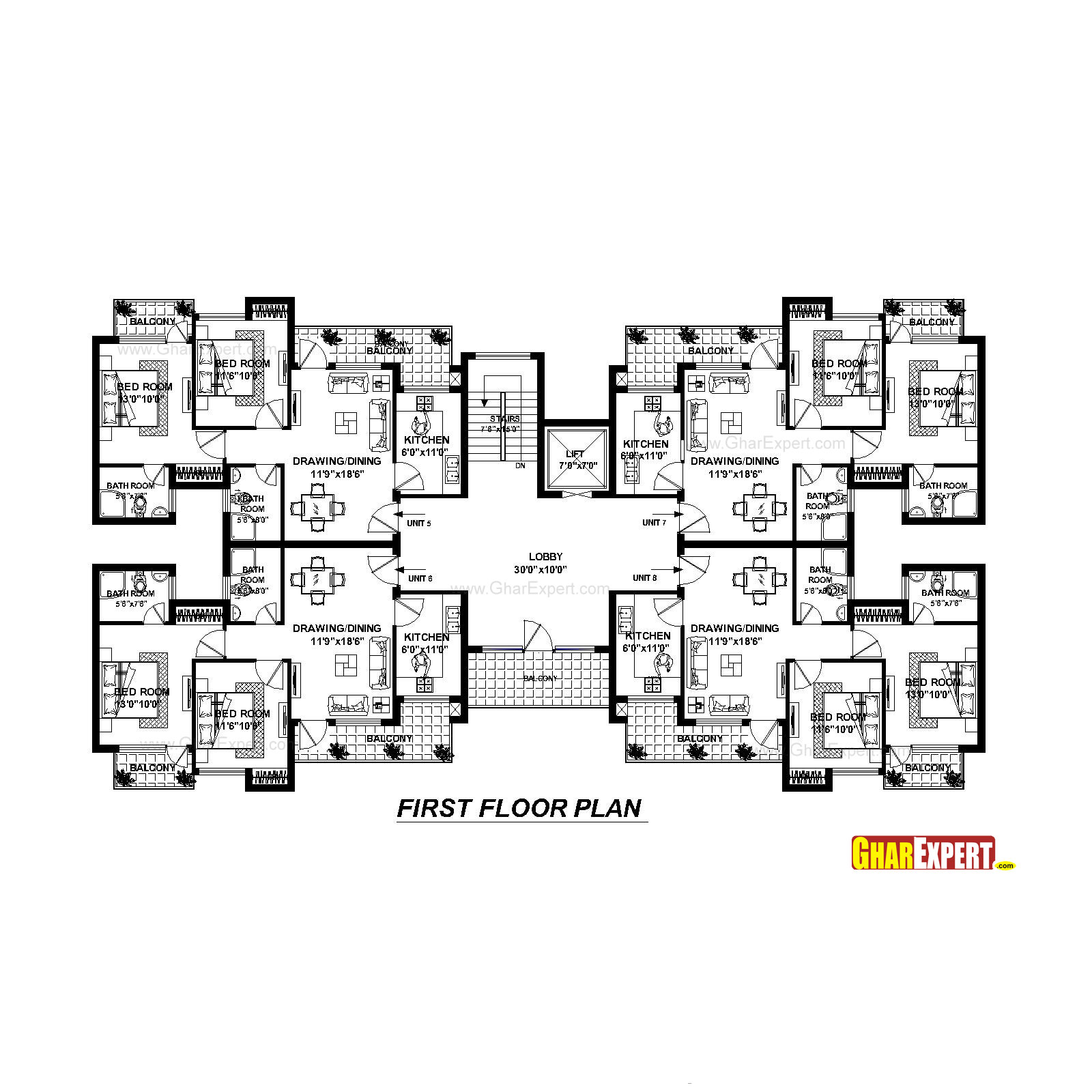 Apartment plan for 118 feet by 100 feet plot plot size for 100 square feet room size
