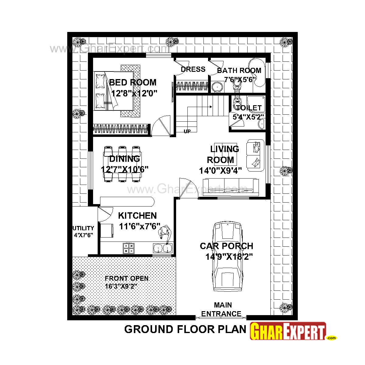 100 Gaj Sq Ft House Plan For 36 Feet By 45 Feet Plot Plot Size 180