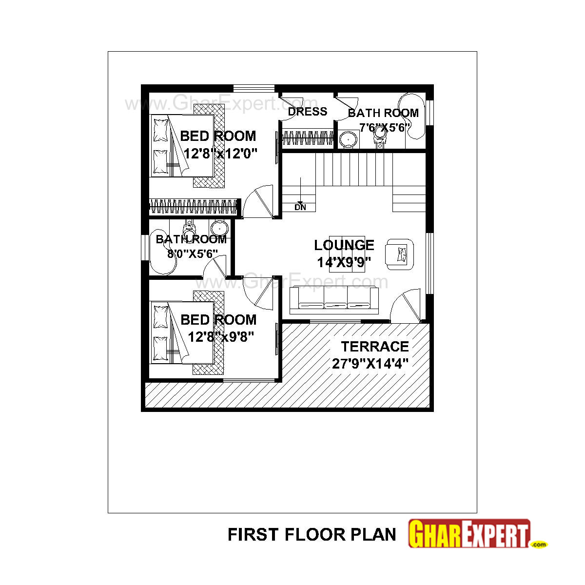 House Plan For 36 Feet By 45 Feet Plot (Plot Size 180 Square Yards)