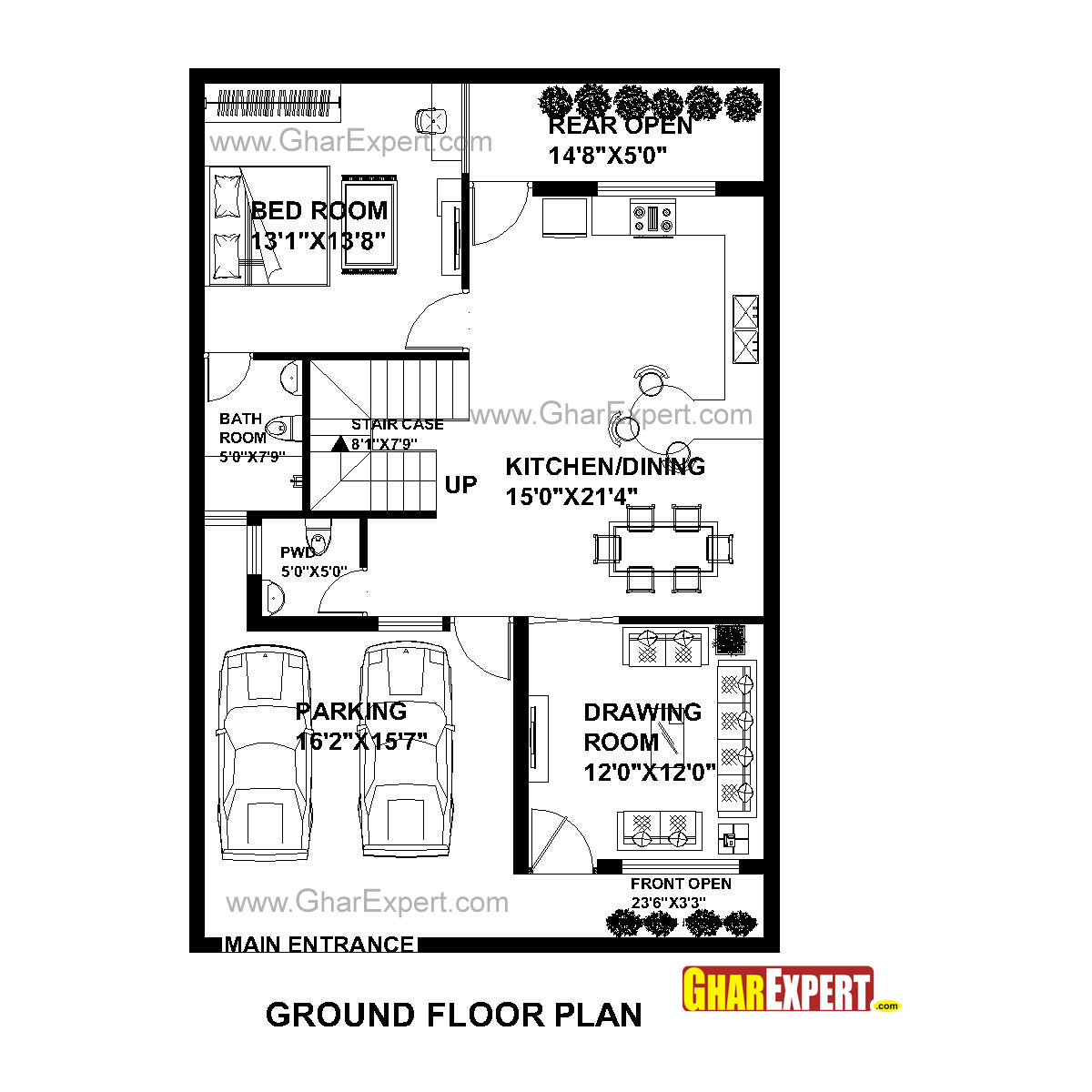 house plan for 30 feet by 45 feet plot  plot size 150