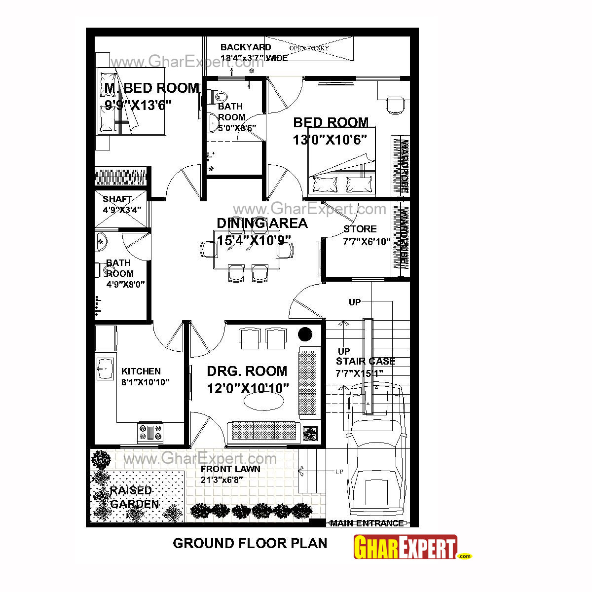 House plan for 30 feet by 45 feet plot plot size 150 30 by 45 house plans