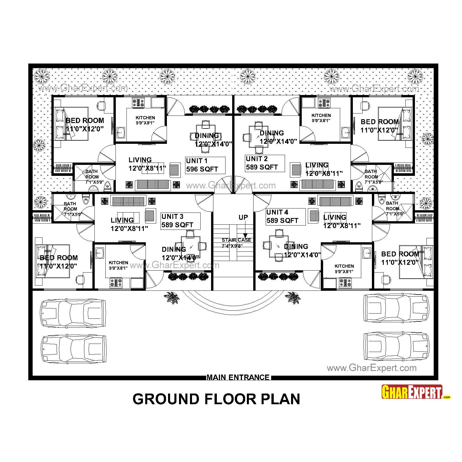 apartment plan for 75 feet by 58 feet plot  plot size 483