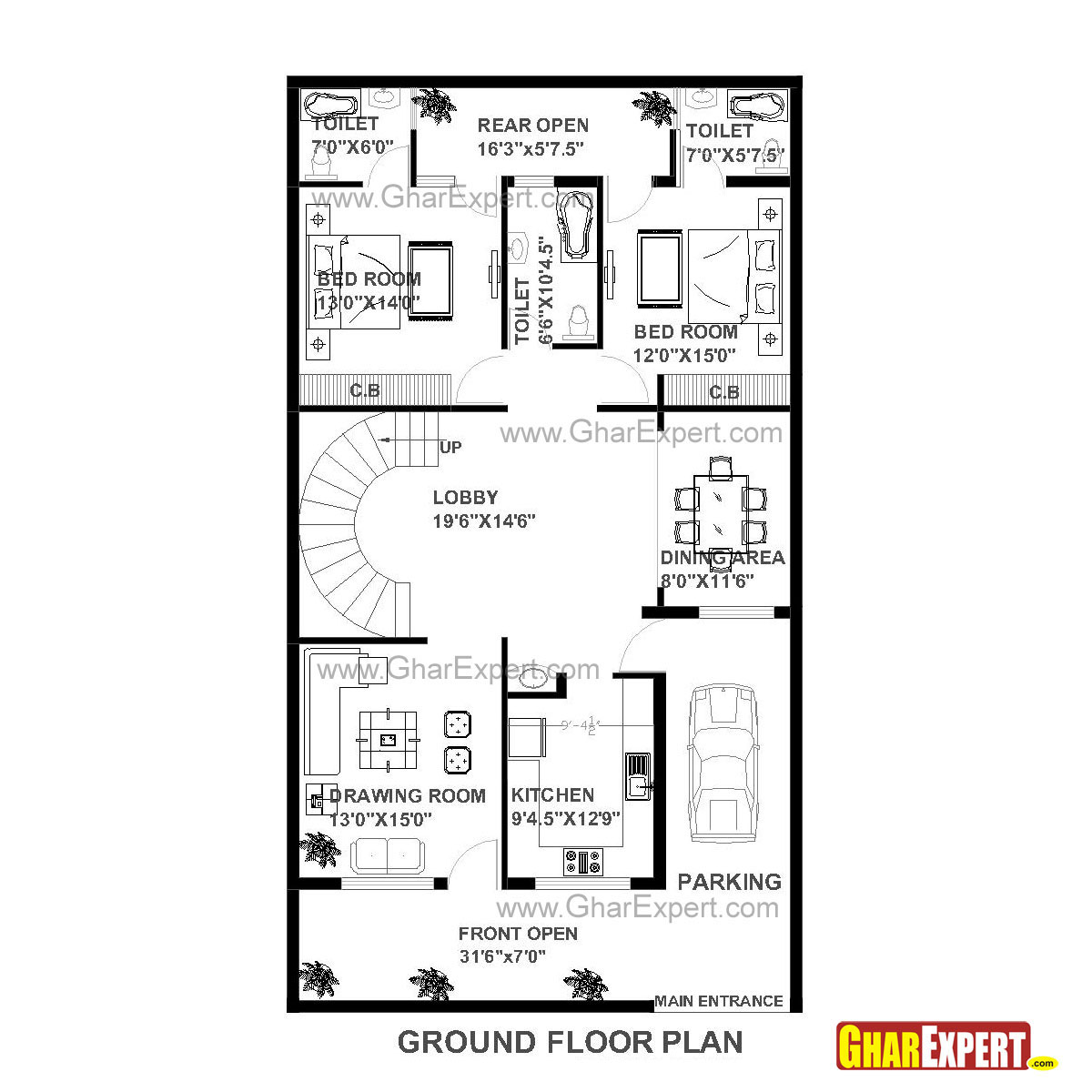 House plan of 30 feet by 60 feet plot 1800 squre feet 30 by 45 house plans