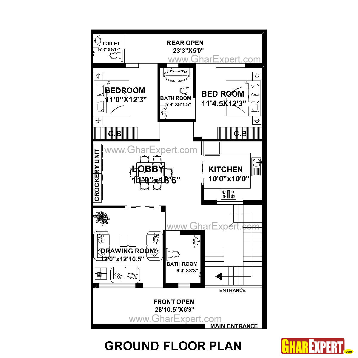House Plan For 30 Feet By 51 Feet Plot Plot Size 170