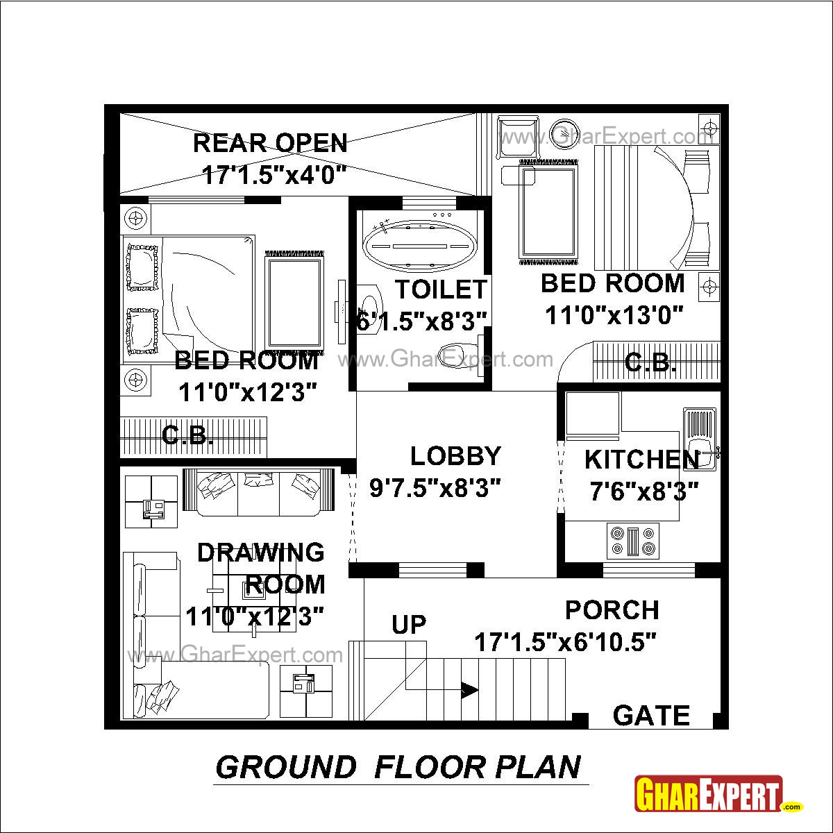 House Plan For 30 Feet By 30 Feet Plot (Plot Size 100 Square Yards)    GharExpert.com