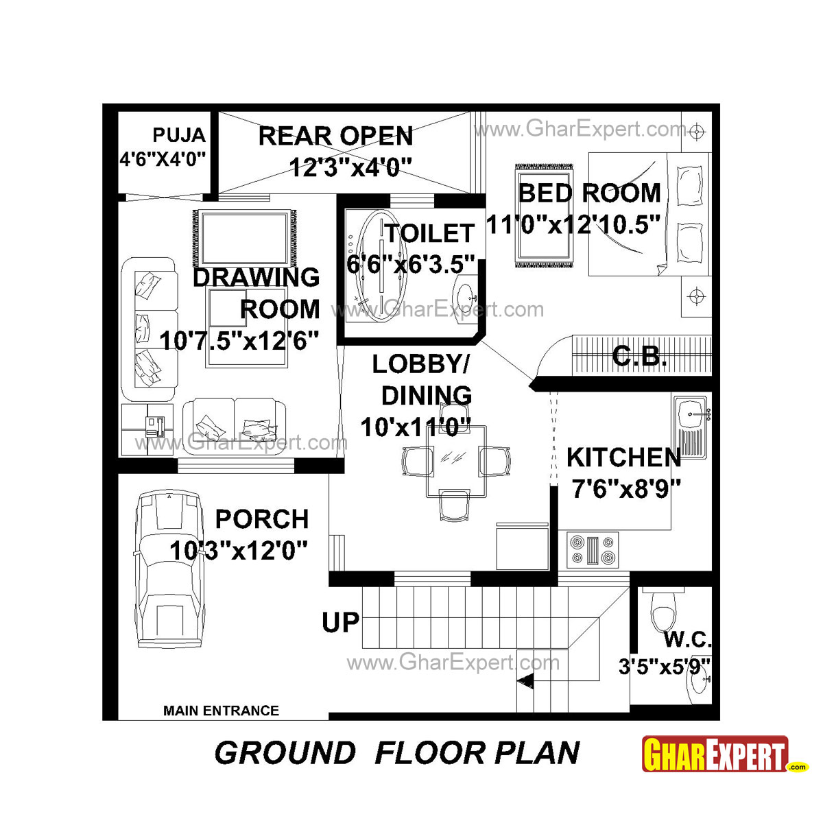 House plan for 30 feet by 30 feet plot plot size 100 for 100 sq ft bedroom layout