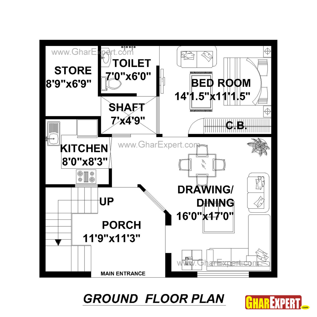 House plan for 30 feet by 30 feet plot plot size 100 for Plot plan drawing