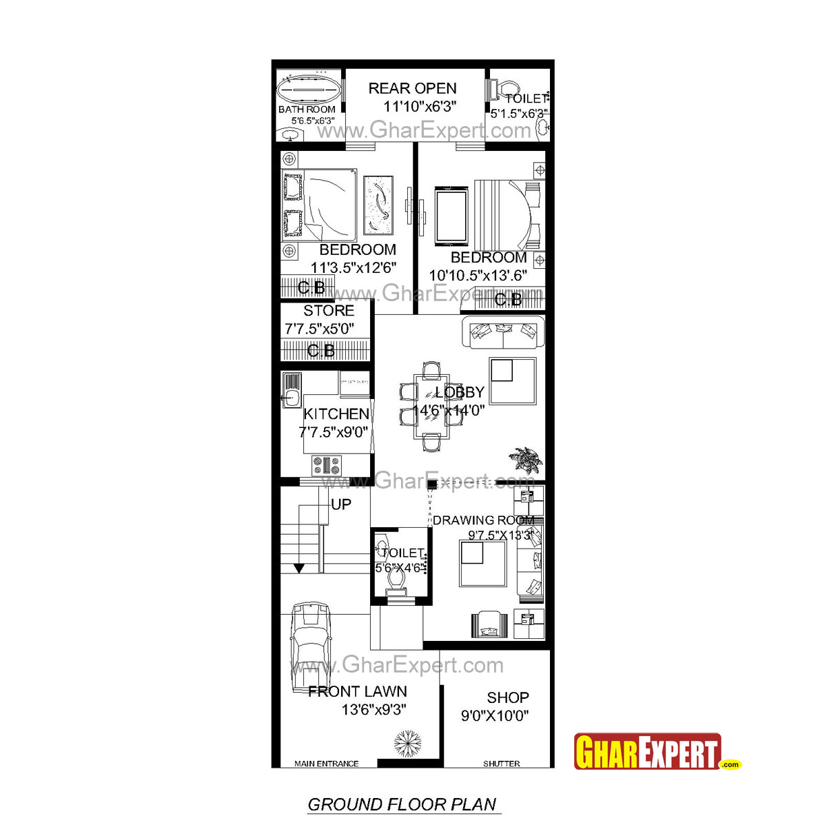 House Plan For 24 Feet By 60 Plot Plot Size160