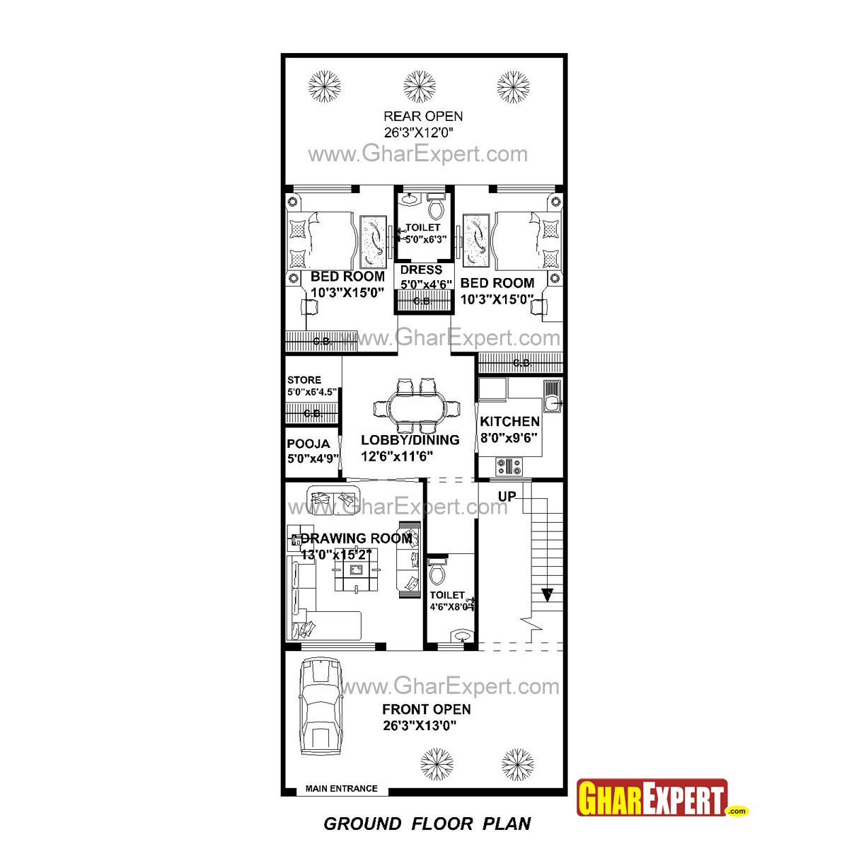 House plan for 27 feet by 70 feet plot plot size 210 for Bedroom 70 square feet