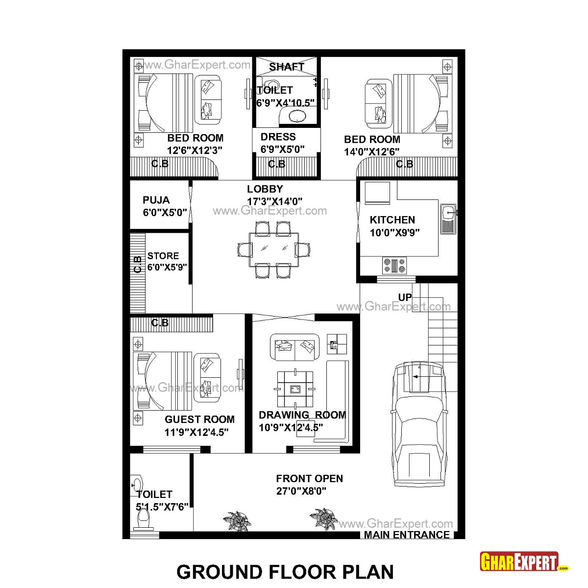 House Plan for 35 Feet by 50 Feet plot (Plot Size 195 Square Yards