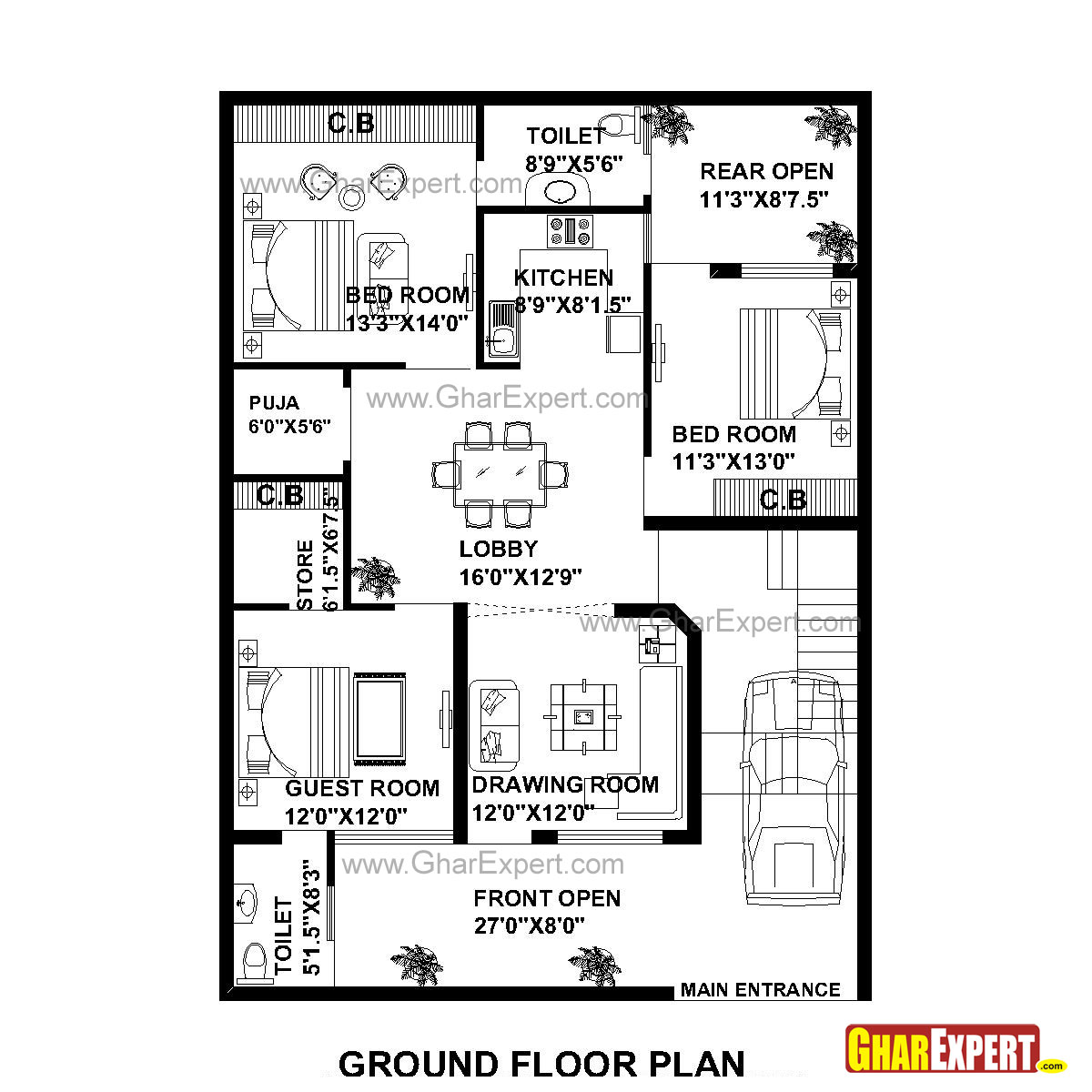House Plan For 35 Feet By 50 Feet Plot (Plot Size 195 Square Yards)    GharExpert.com