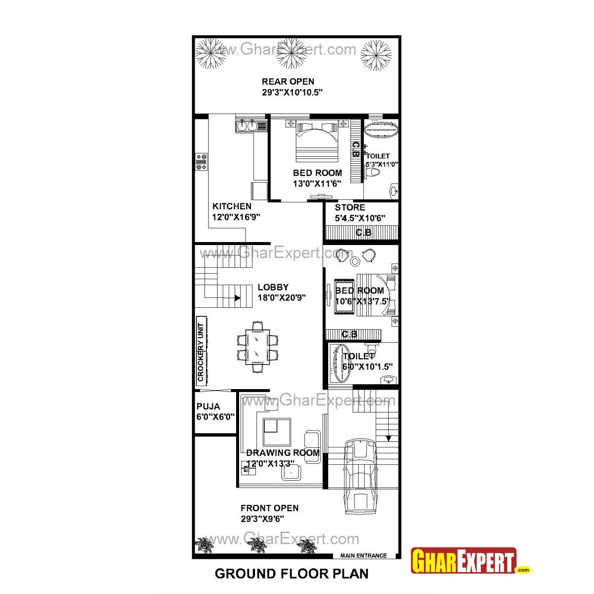 house plan for 30 feet by 75 feet plot  plot size 250