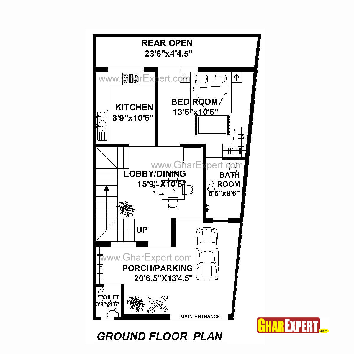 House plan for 22 feet by 42 feet plot plot size 103 square yards gharexpert com