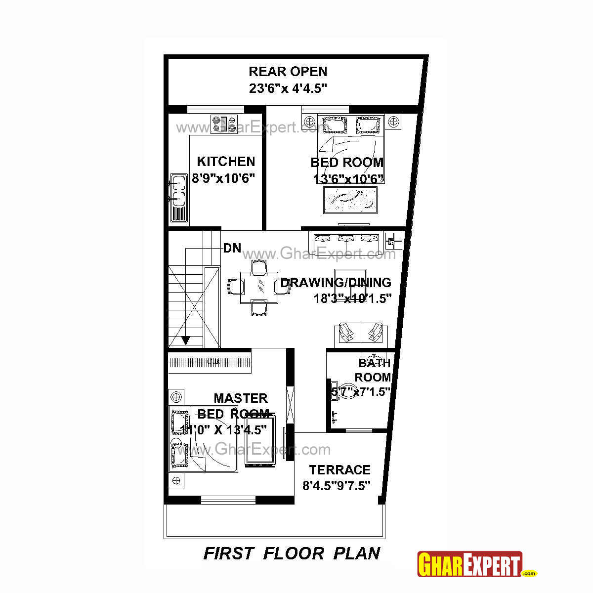house plan for 22 feet by 42 feet plot  plot size 103