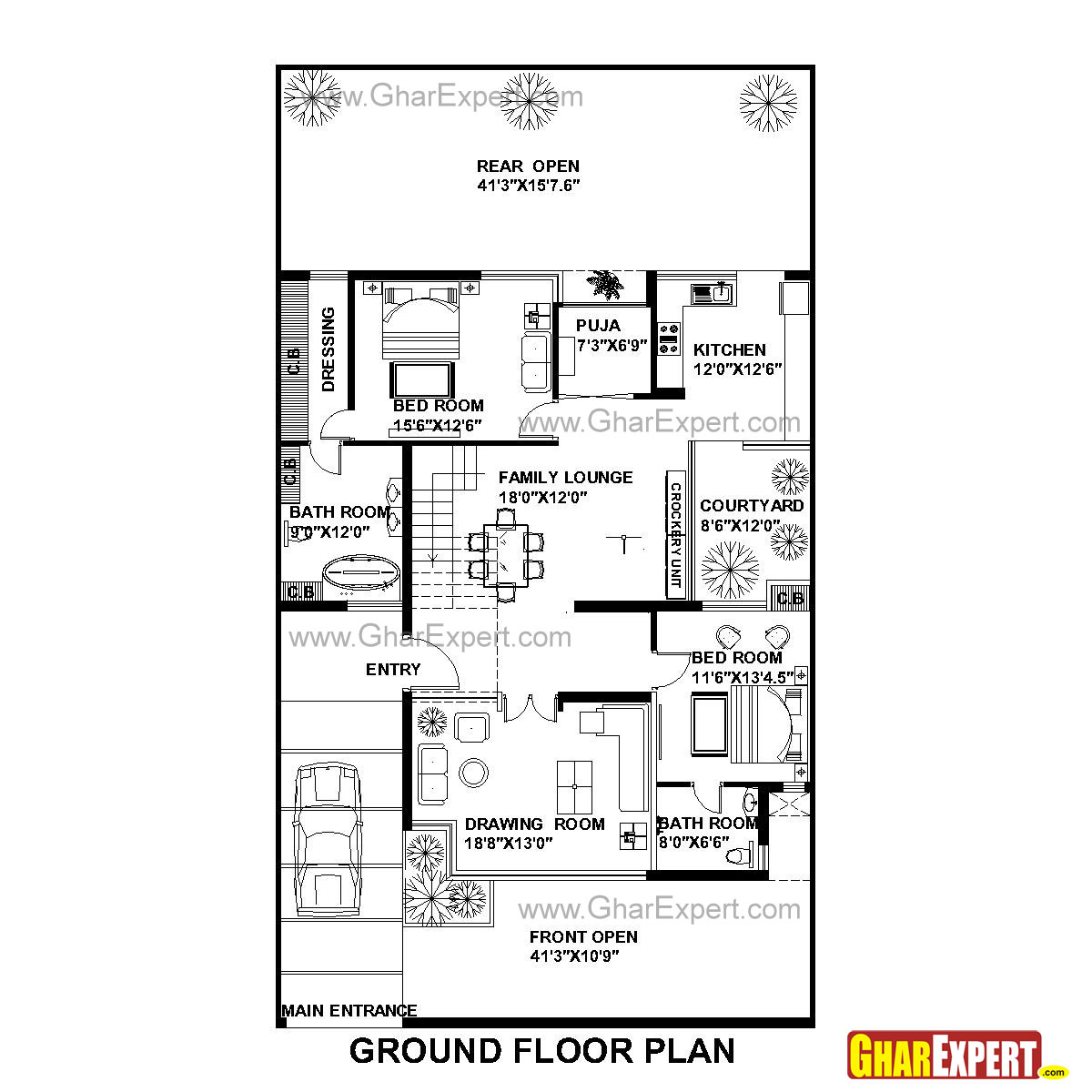 House plan for 42 feet by 75 feet plot plot size 350 400 square feet to square meters