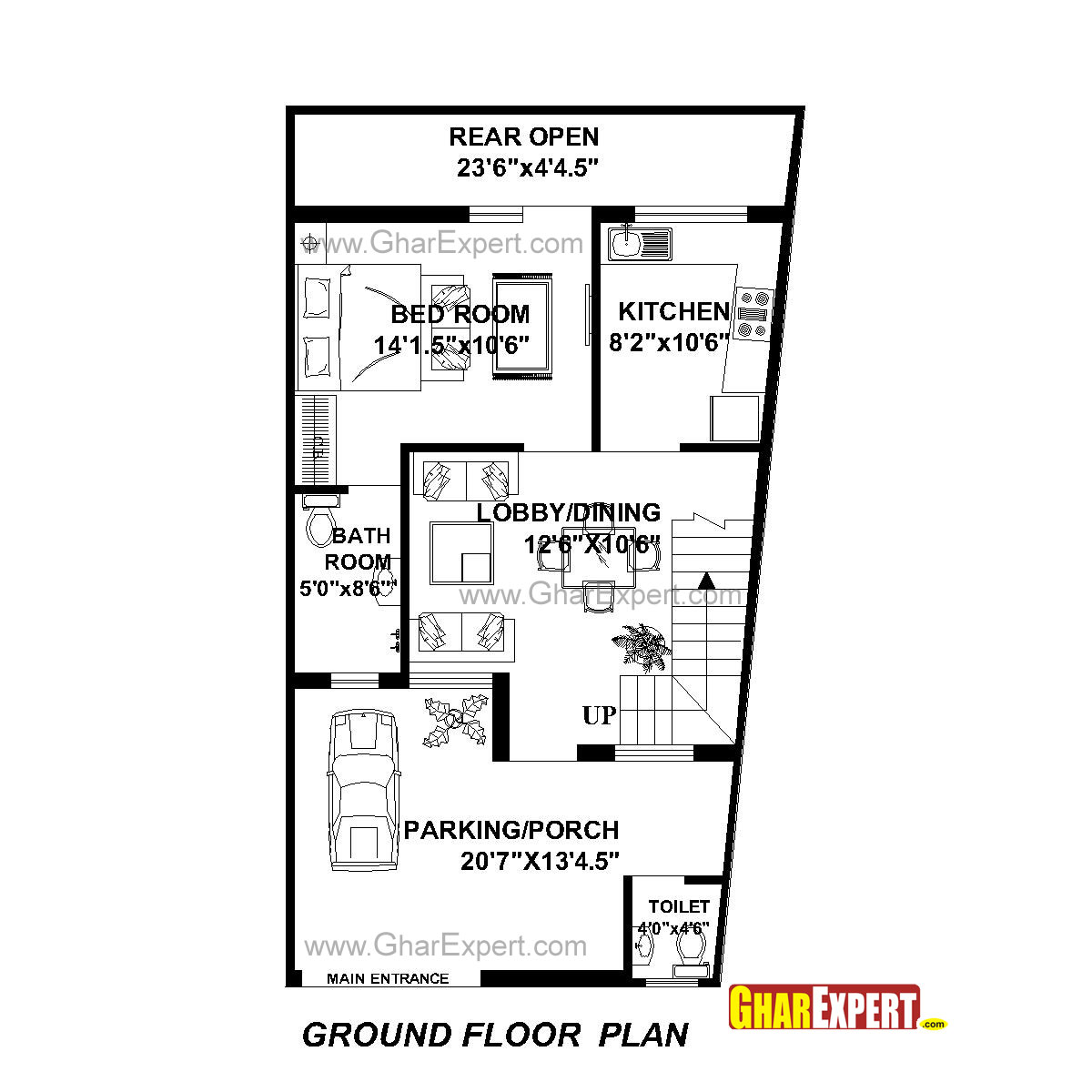 House Plan for 22 Feet by 42 Feet plot (Plot Size 103 Square Yards on double wide addition plans, 40' wide home plans, wide shaped homes plans, wide mobile homes, wide building,