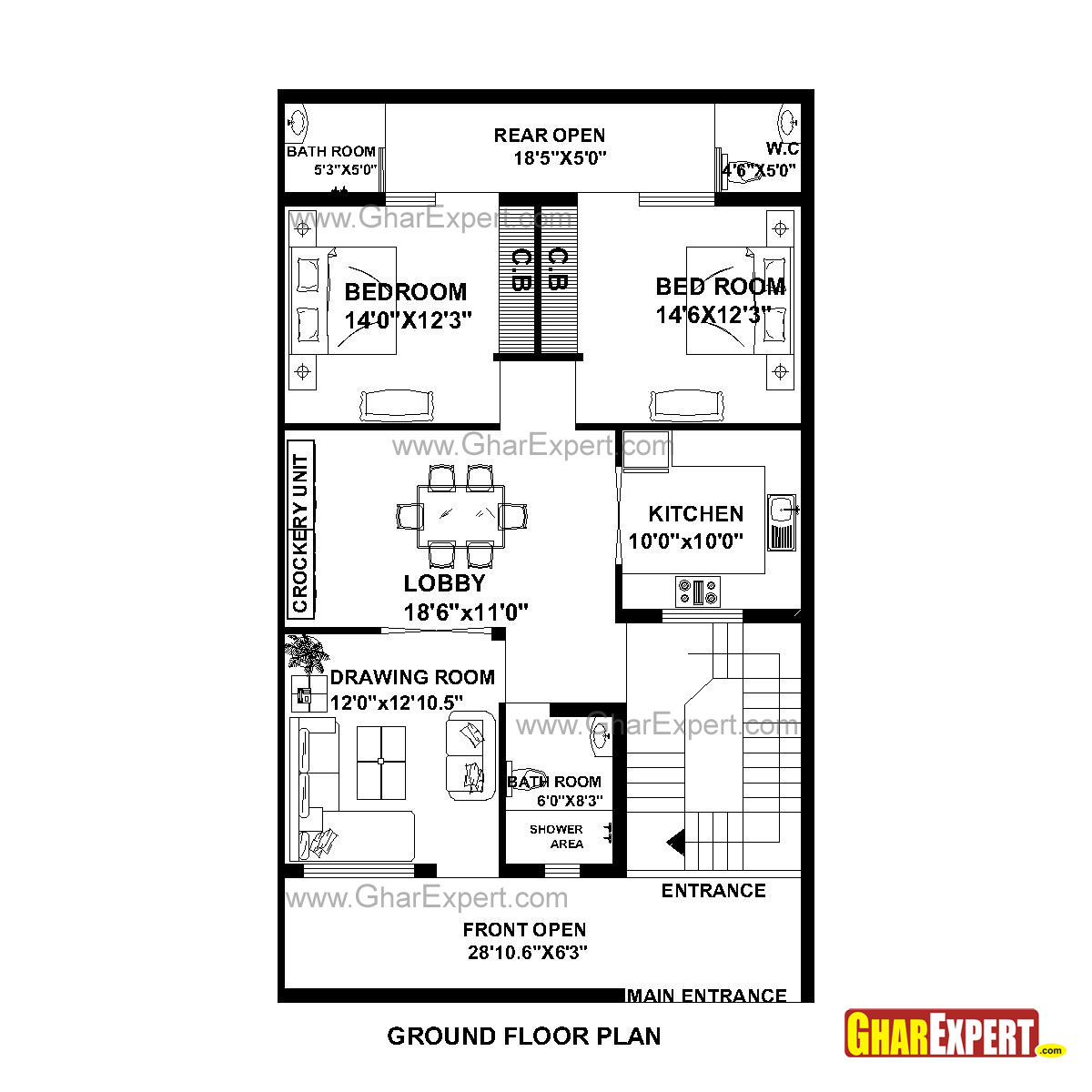 House plan for 30 feet by 51 feet plot plot size 170 for Home floor plans with estimated cost to build