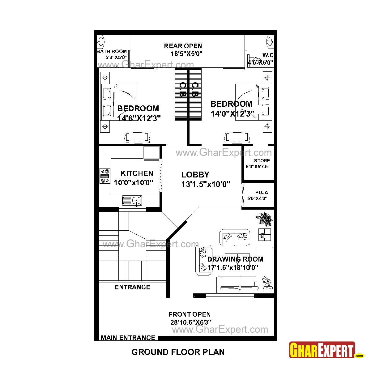 House plan for 30 feet by 51 feet plot plot size 170 for How to find house plans