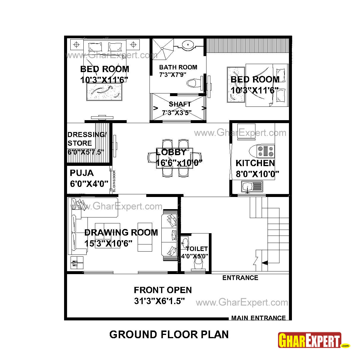 House Plan For 33 Feet By 40 Feet Plot Plot Size 147: House Plan For 32 Feet By 40 Feet Plot (Plot Size 142