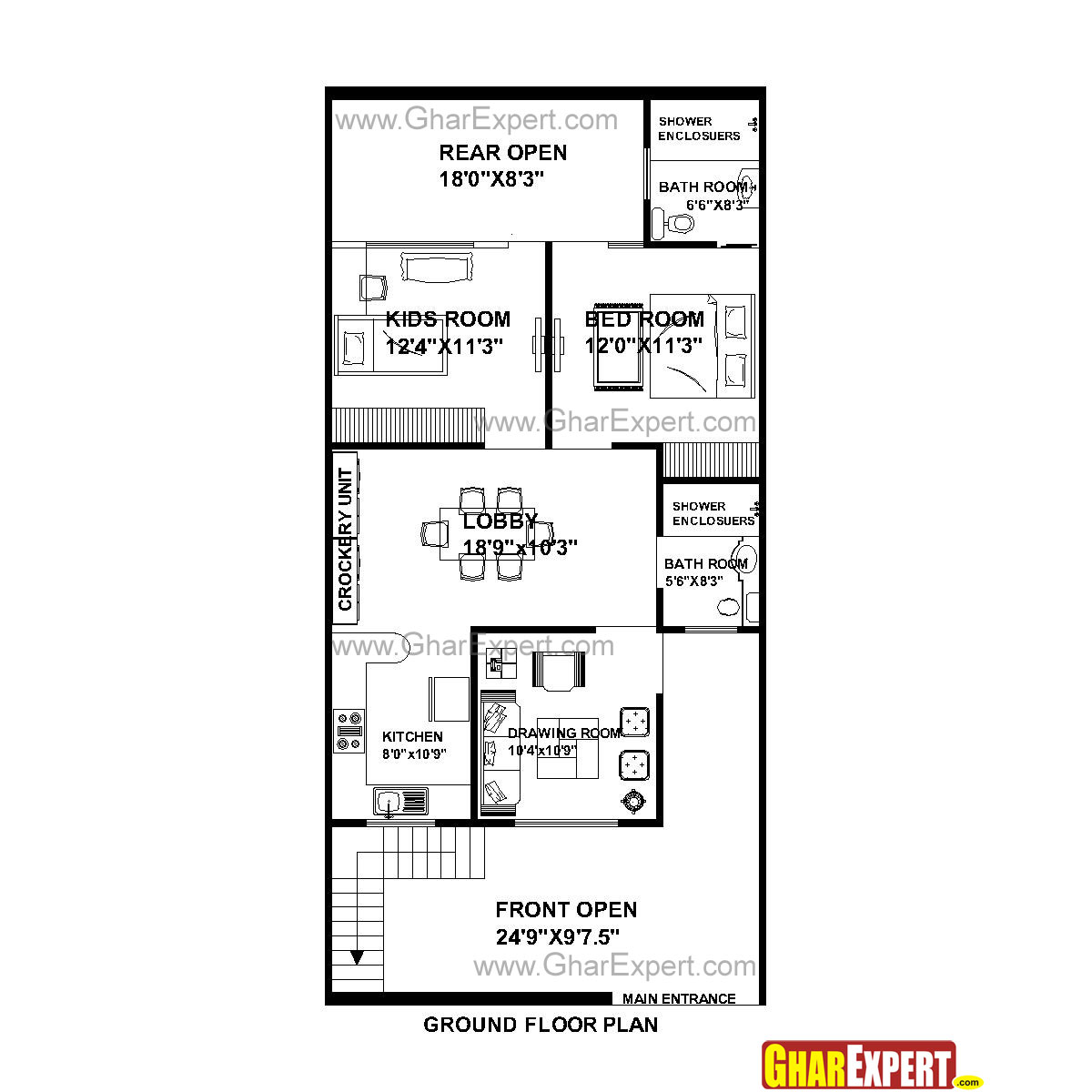House Plan For 25 Feet By 53 Feet Plot Plot Size 147 Square Yards Gharexpert Com