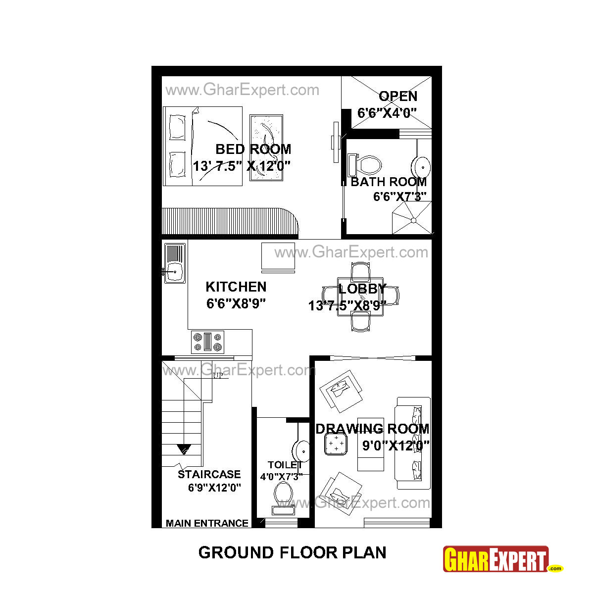 Plan For 22 Feet By 35 Feet Plot  Plot Size 86 Square Yards  Plan Code 1450 on 600 sq ft house design