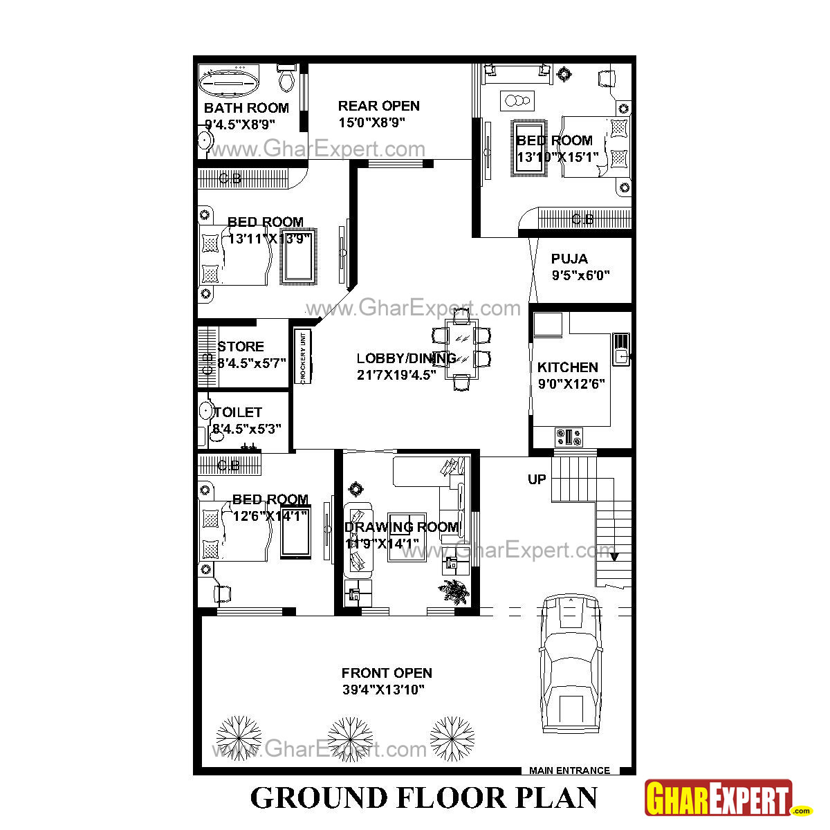 house plan for 41 feet by 66 feet plot  plot size 301