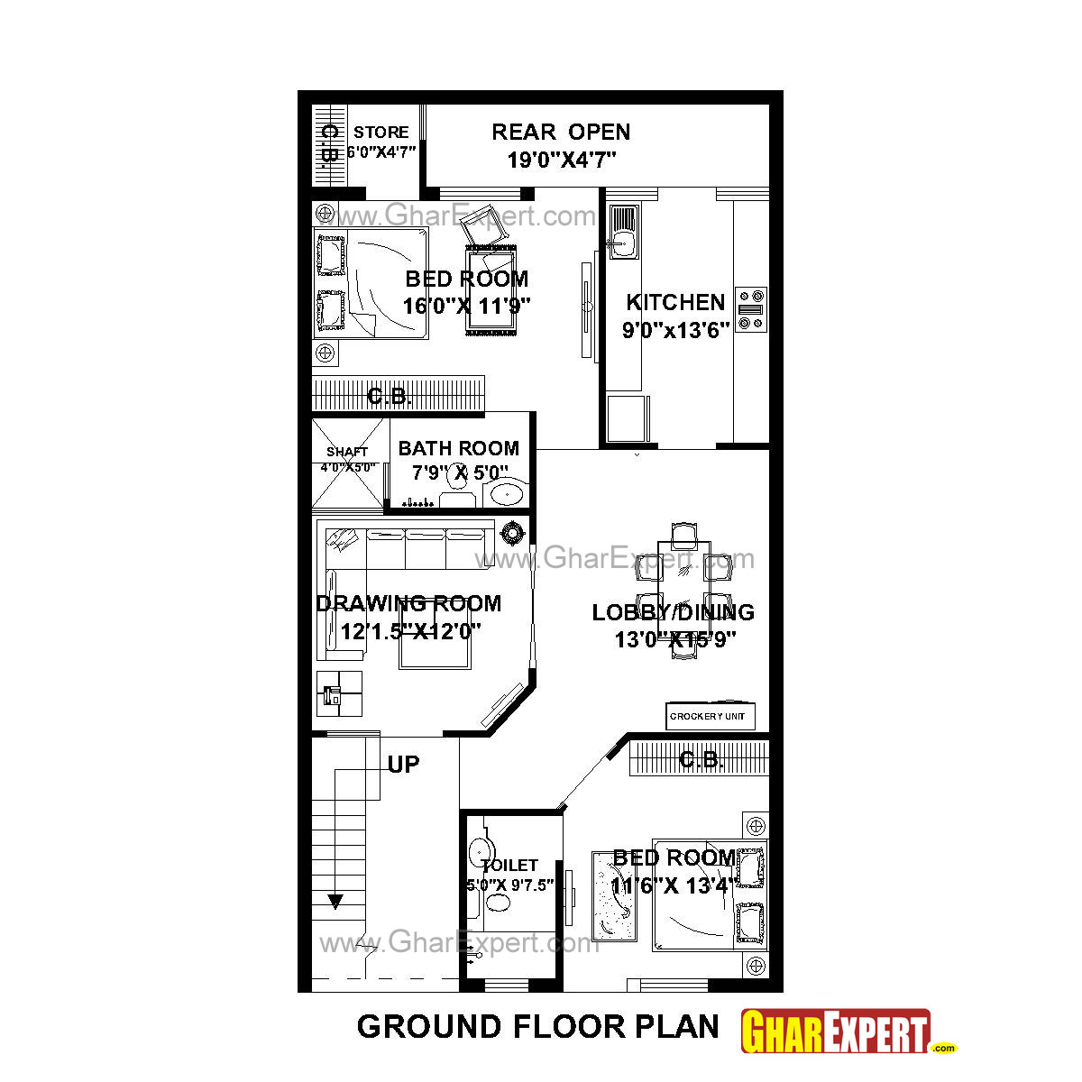 House Plan for 27 Feet by 50 Feet plot (Plot Size 150 Square