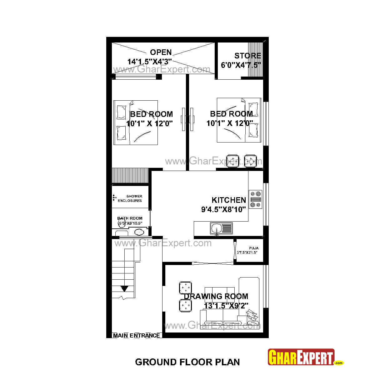 House plan for 23 feet by 45 feet plot plot size for 120 square feet room