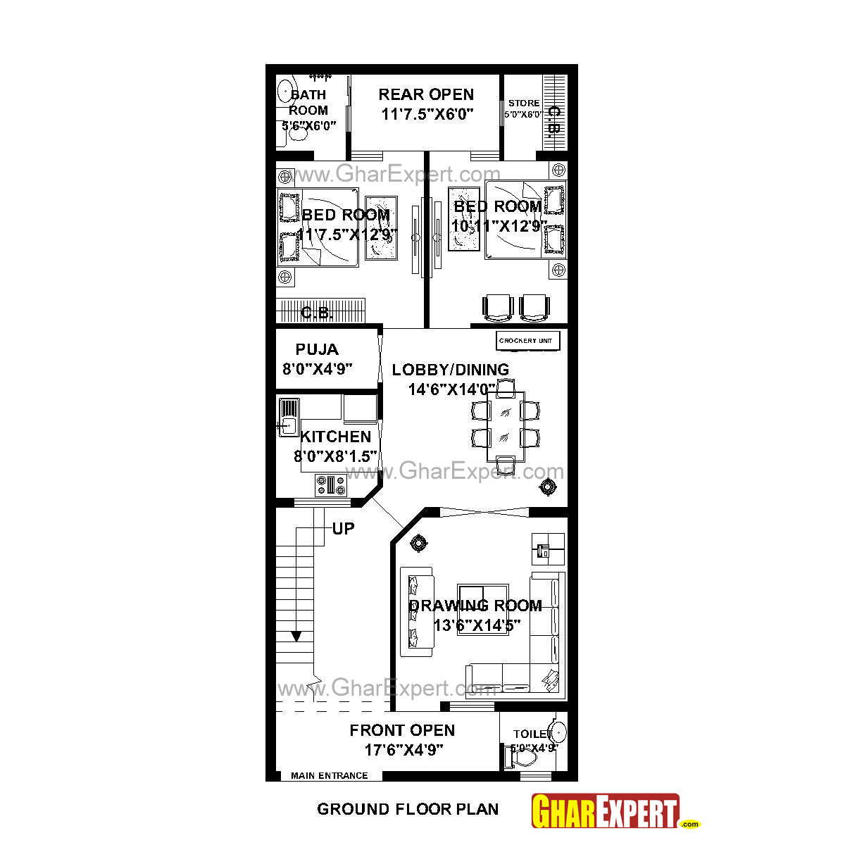 House Plan For 24 Feet By 56 Feet Plot Plot Size 149
