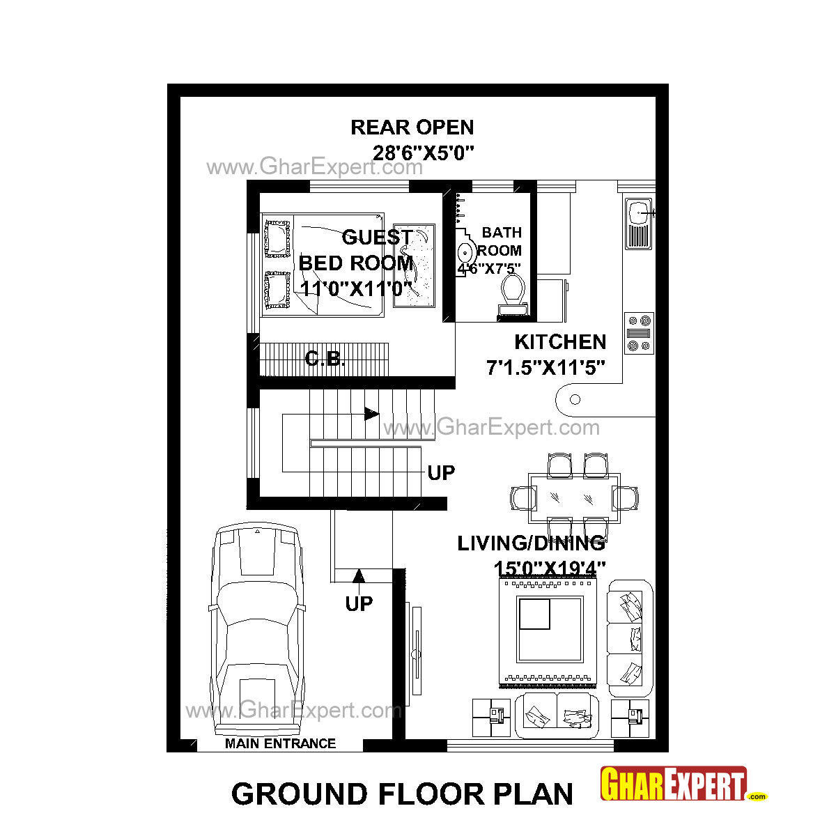 House Plans 30 40 House Plans West Facing Single Story 30x40 House