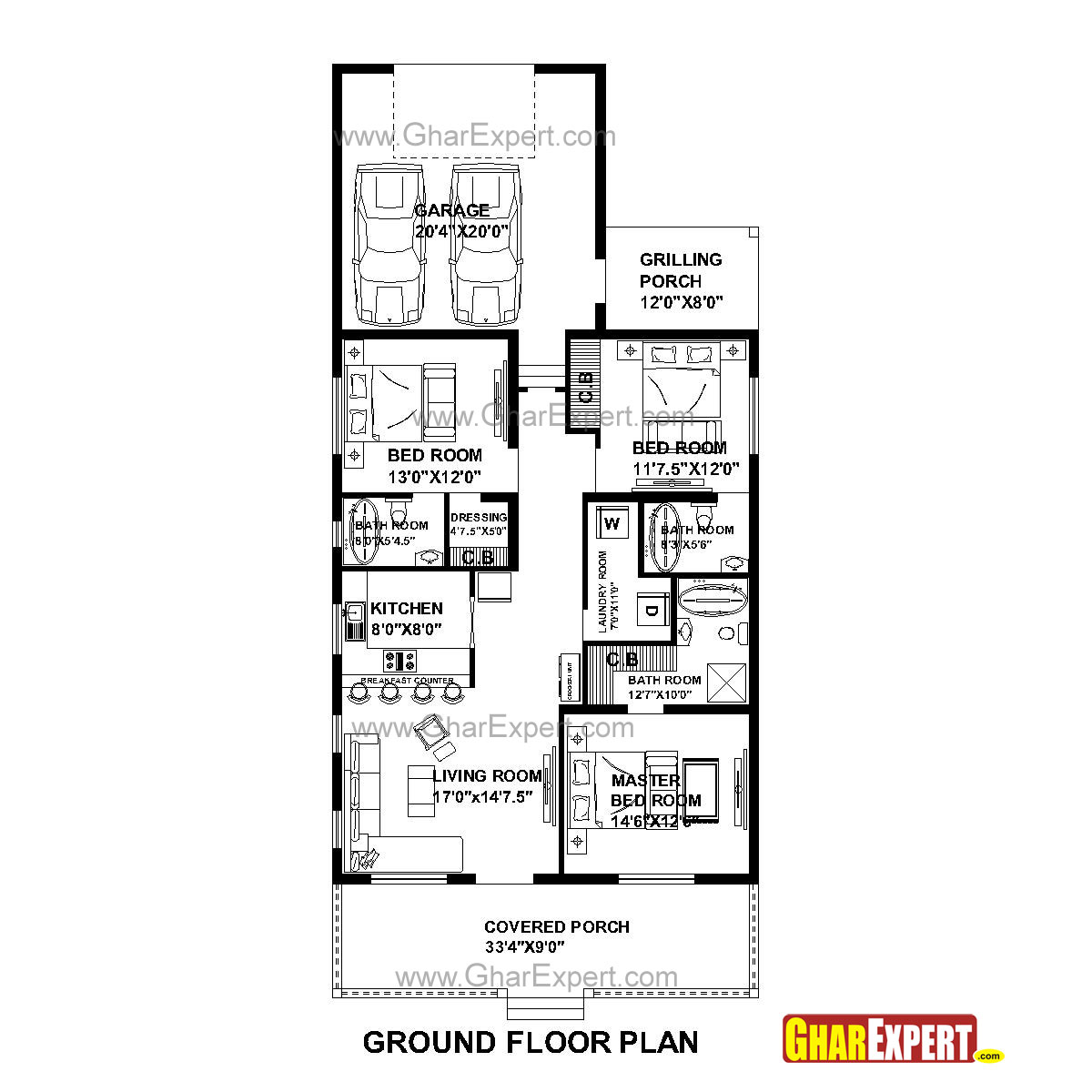 House Plan for 33 Feet by 73 Feet plot (Plot Size 268 Square Yards ...