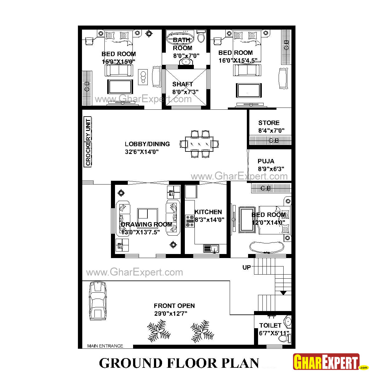 house plan for 43 feet by 64 feet plot  plot size 306 square yards