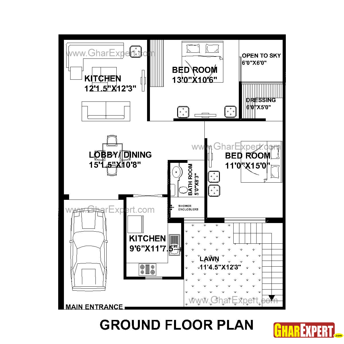 House Plan For 33 Feet By 40 Feet Plot (Plot Size 147 Square Yards)    GharExpert.com