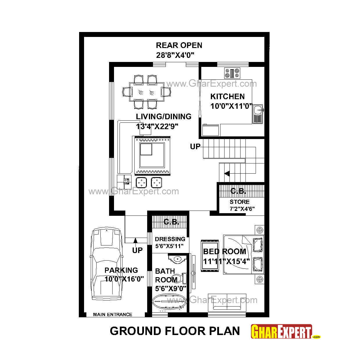 House Plan For 30 Feet By 45 Feet Plot (Plot Size 150 Square Yards)    GharExpert.com