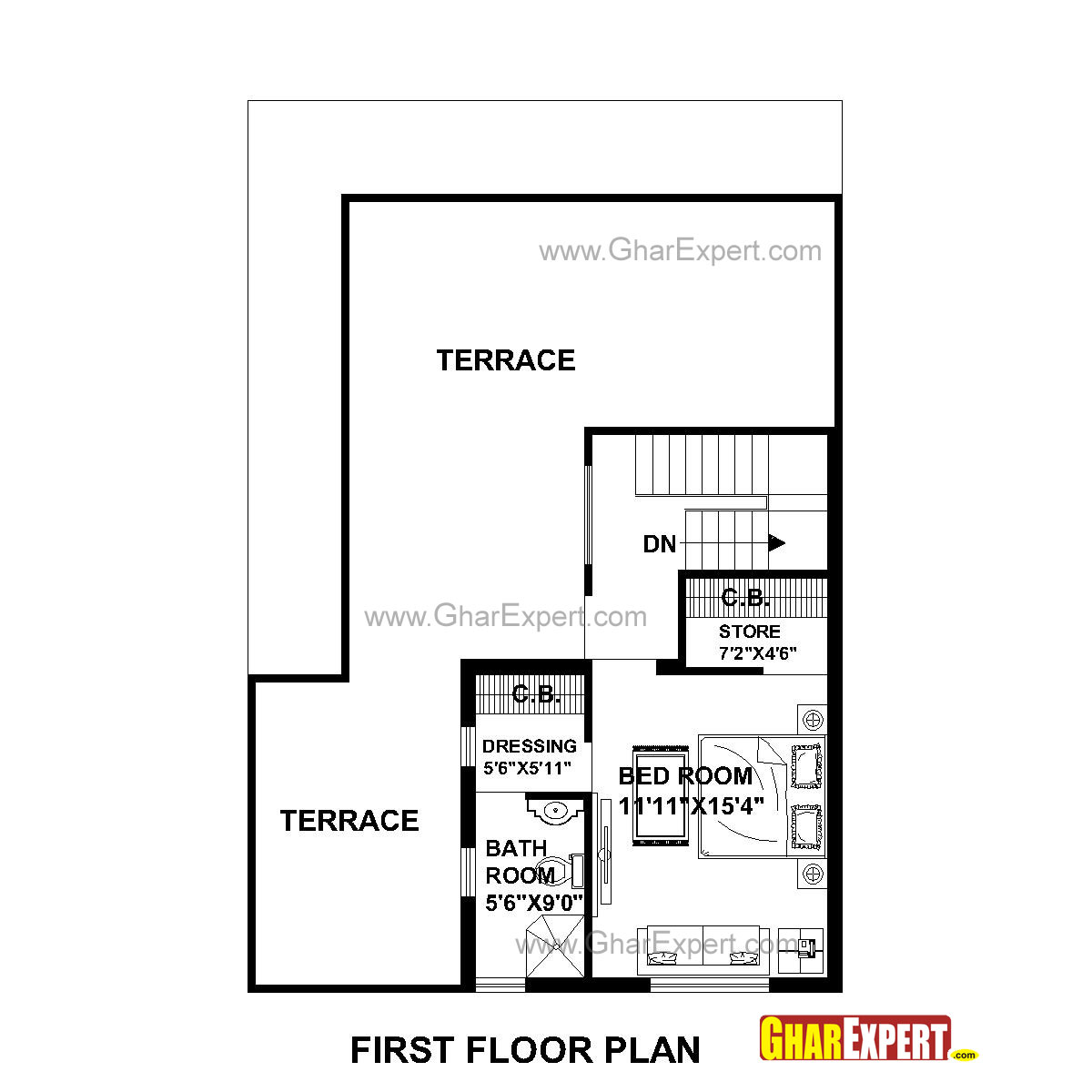 House Plan for 30 Feet by 45 Feet plot (Plot Size 150 Square
