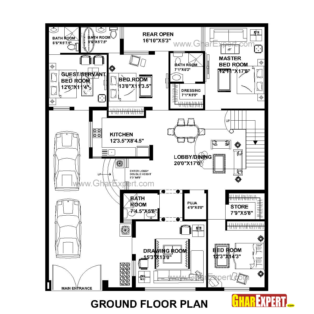House plan for 48 feet by 58 feet plot plot size 309 House layout plan