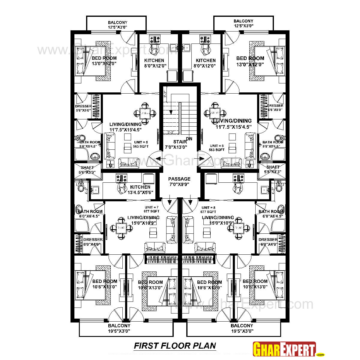Apartment plan for 45 feet by 60 feet plot plot size 300 for 300 square foot house plans