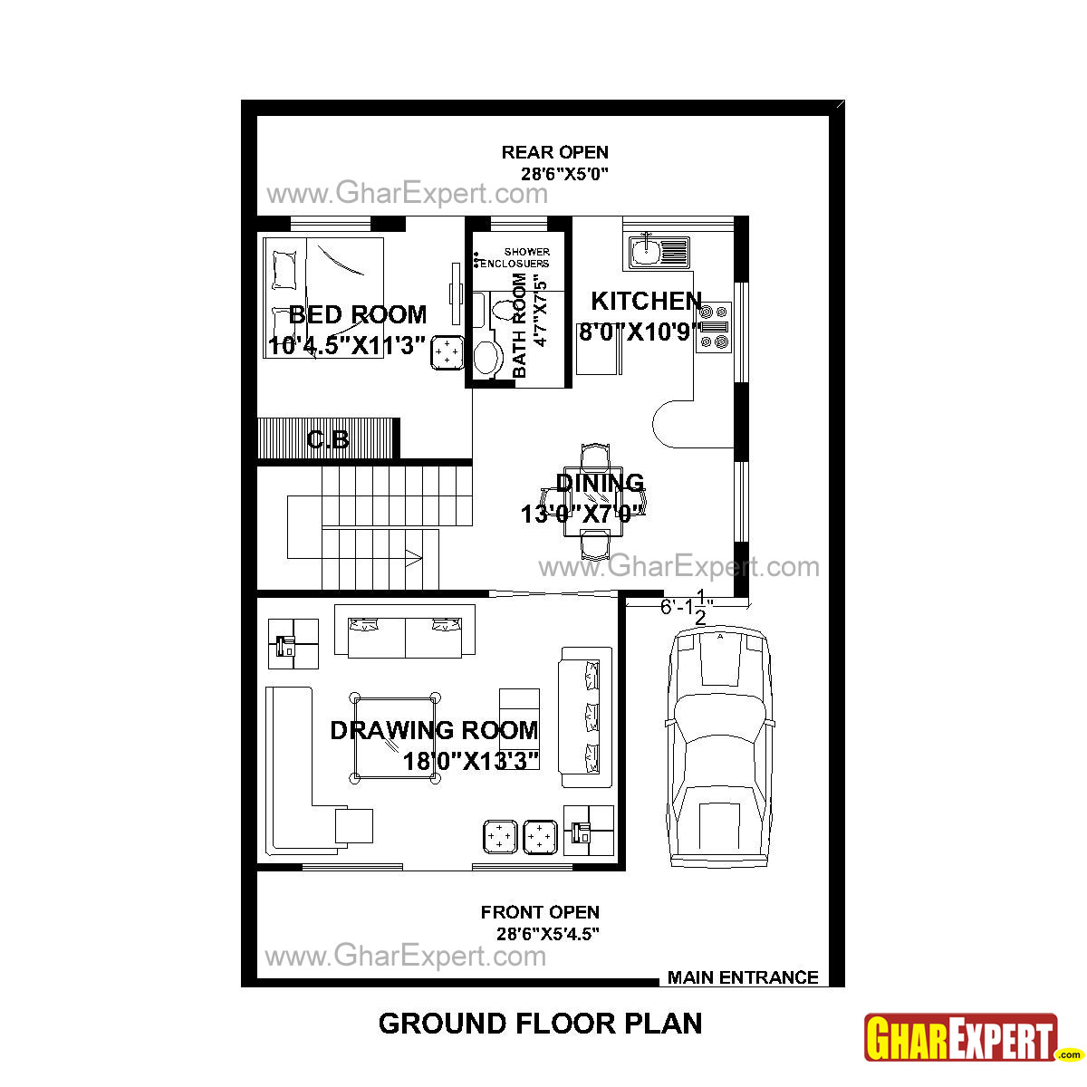 House plan for 30 feet by 44 feet plot plot size 147 for Plot plan drawing