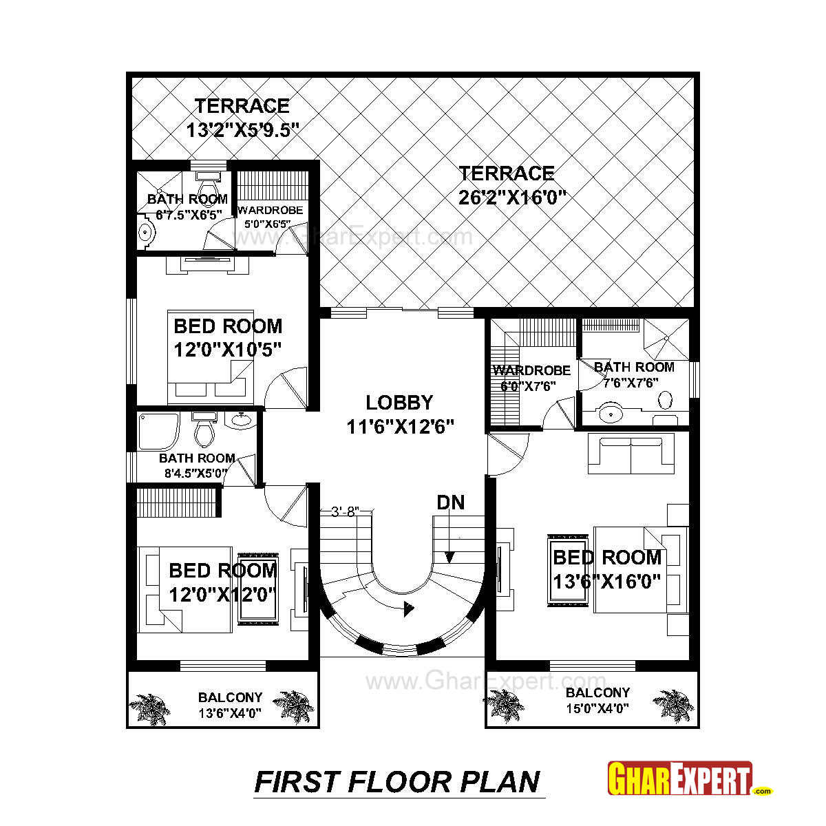 house plan for50 feet by 80 feet plot  plot size 444