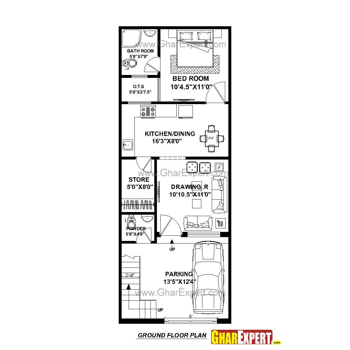 House plan for 17 feet by 45 feet plot plot size 85 for 16 x 50 floor plans