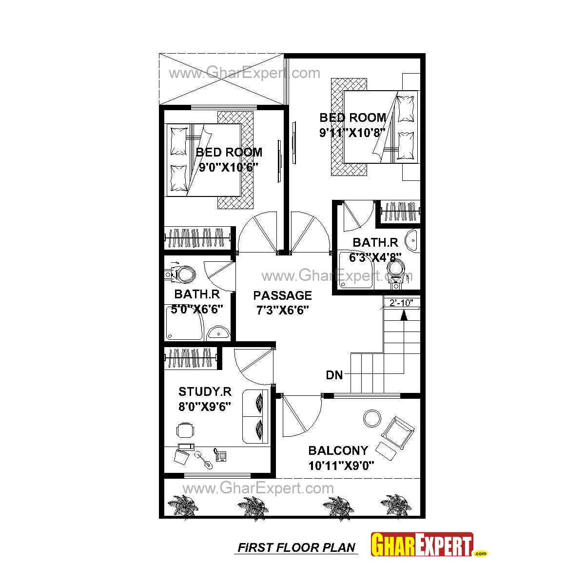 House plan for 20 feet by 45 feet plot plot size 100 for Home plans com