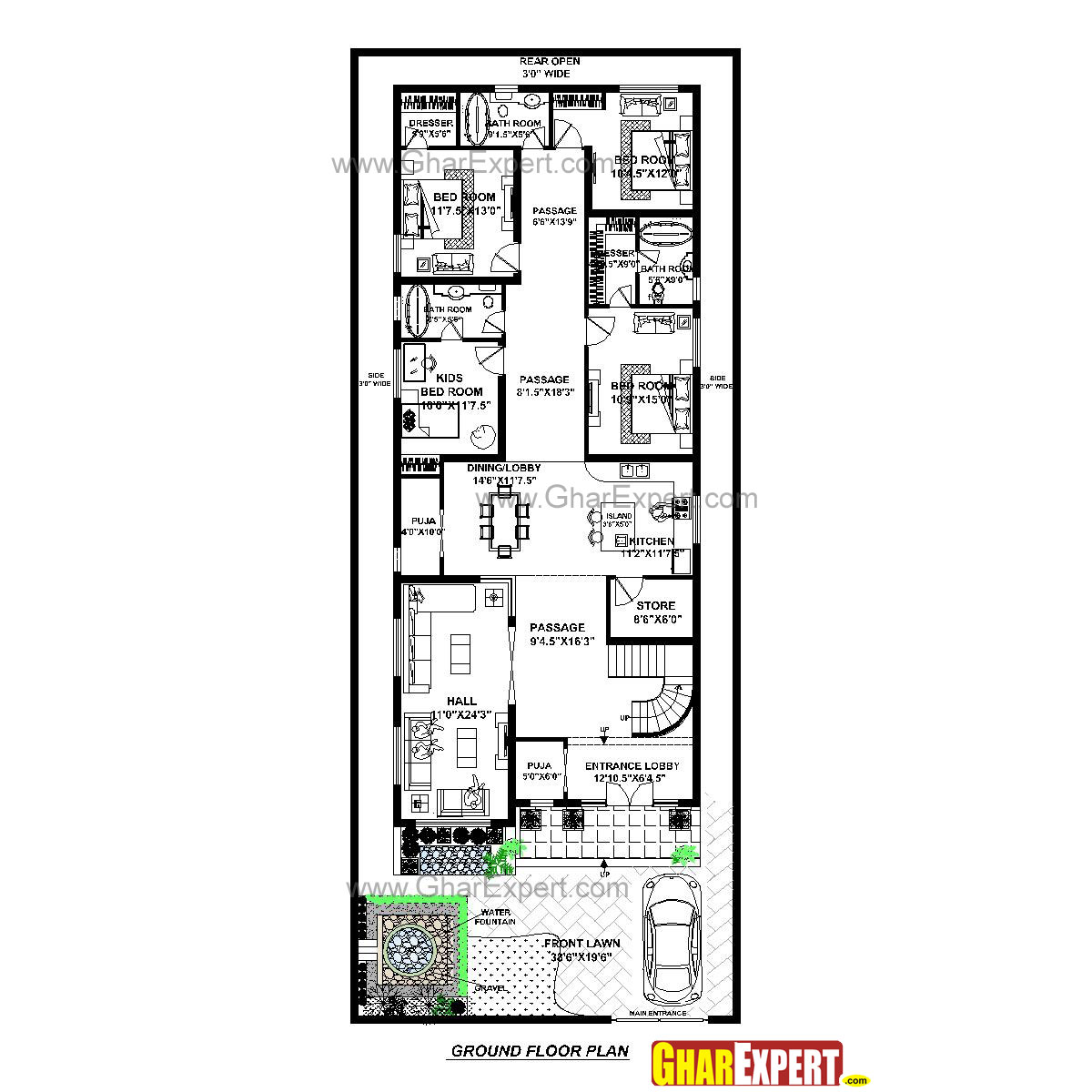 House Plan For 40 Feet By 100 Feet Plot (Plot Size 444