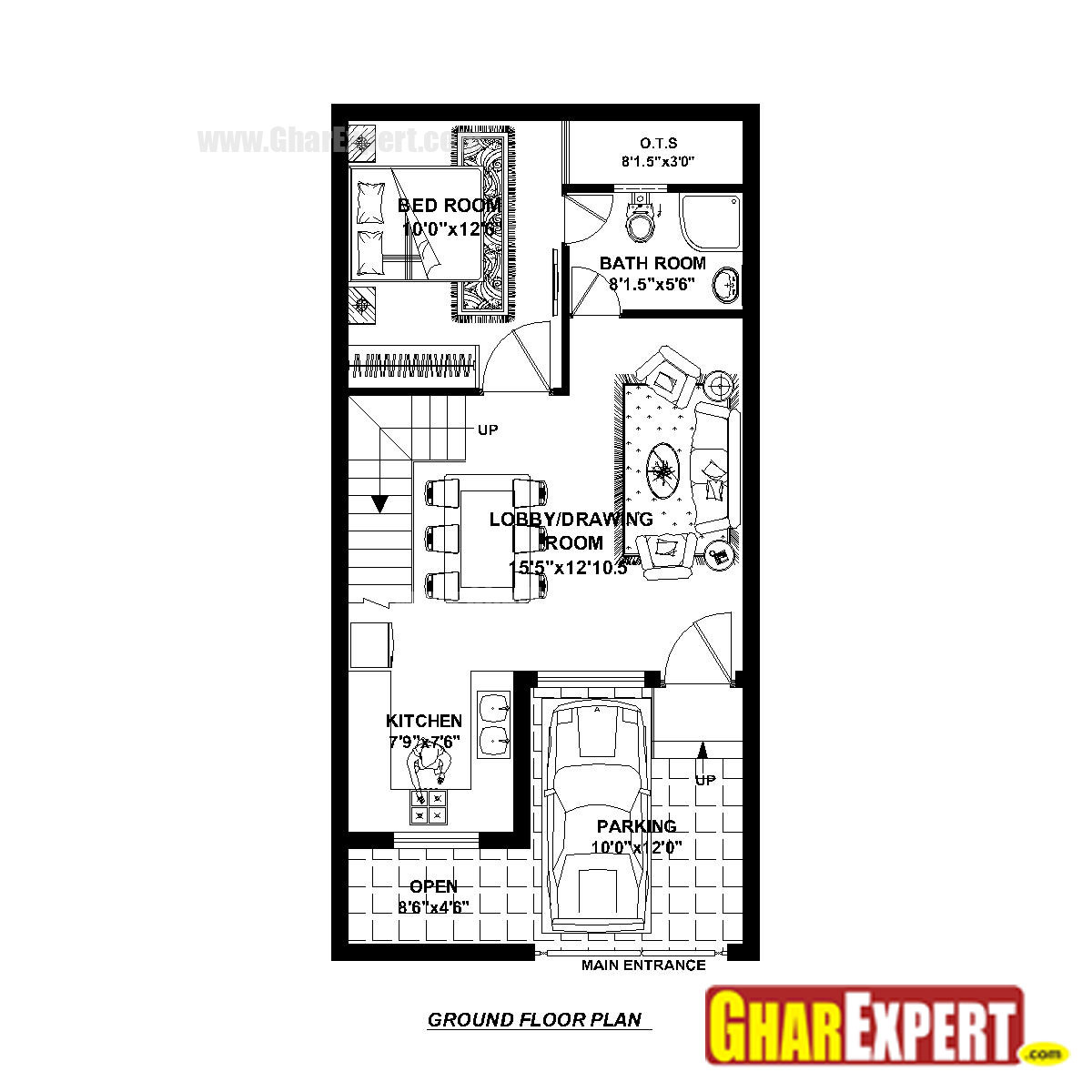 House plan for 20 feet by 40 feet plot plot size 89 20 by 20 house plan