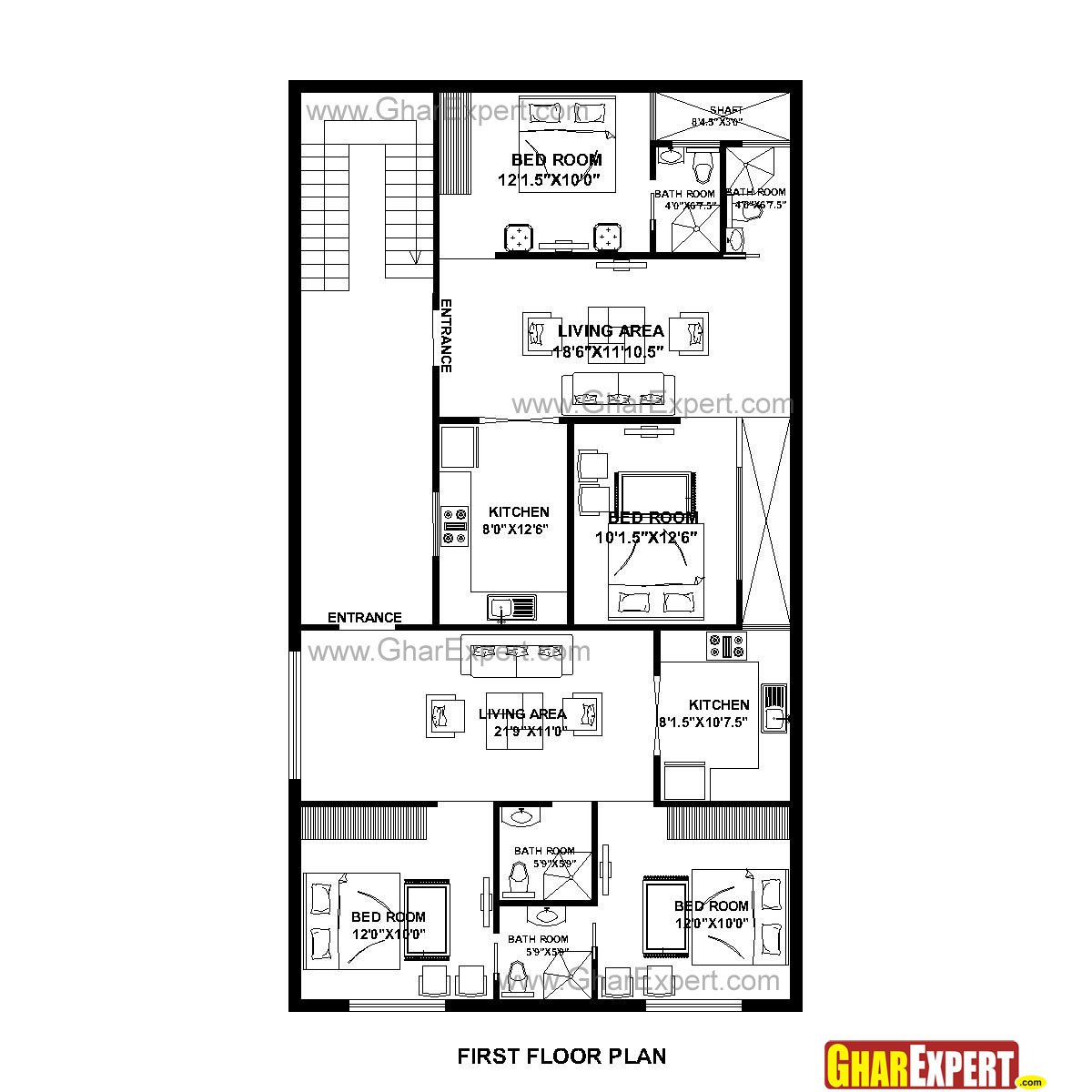 House Plan for 32 Feet by 58 Feet plot (Plot Size 206 Square Yards - GharExpert.com