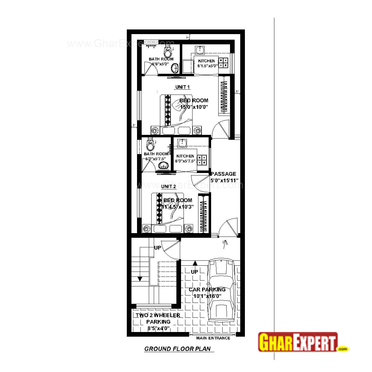 House plan for 20 feet by 52 feet plot plot size 116 for Home design 6 x 20