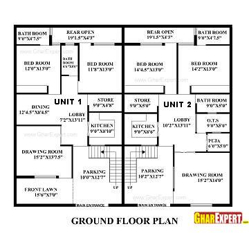 House Plan for 60 Feet by 50 Feet plot Plot Size 333 Square Yards