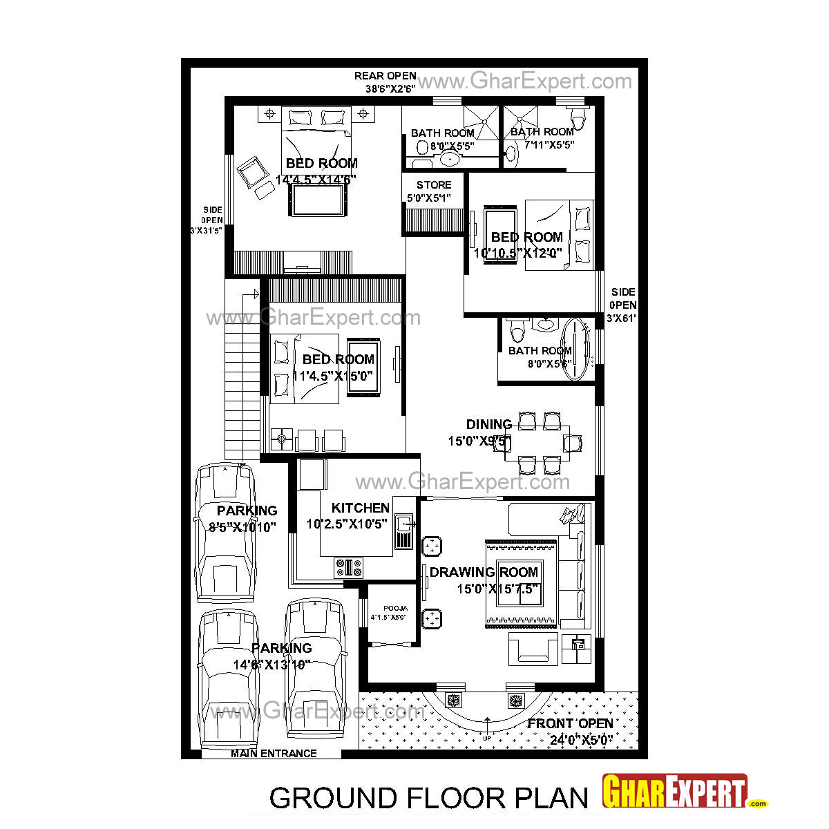 House Plan For 40 Feet By 60 Feet Plot (Plot Size 267 Square Yards)    GharExpert.com