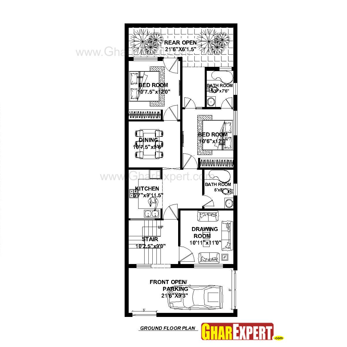 House Plan For 23 Feet By 60 Feet Plot Plot Size 150
