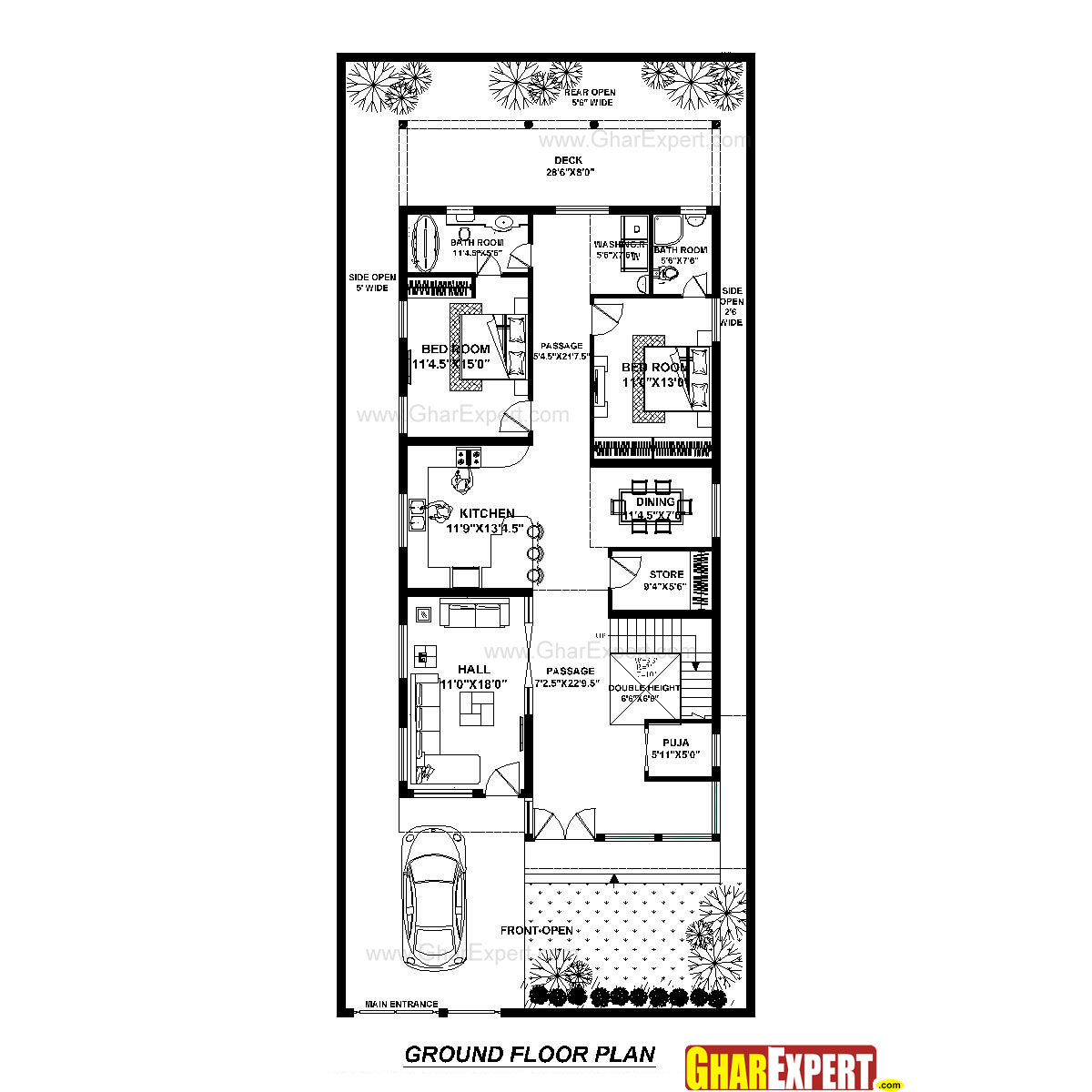 100 How Big Is 400 Sq Feet House Plan For 40 Feet